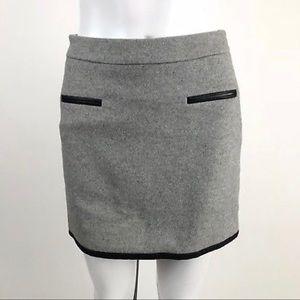 Club Monaco Gray Faux Leather Trim Short Skirt